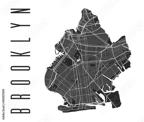 Papel de parede Brooklyn map poster
