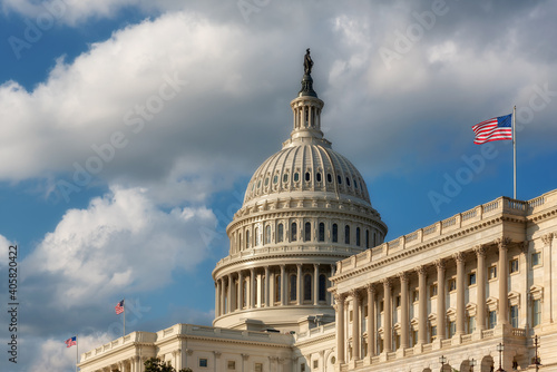 Obraz US Capitol Building with American flags is the home of the United States Congress in Washington D.C, USA. - fototapety do salonu