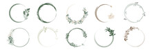 Set Of Greenery Leaf Wreaths And Bouquets Frame With Watercolor