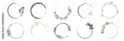Set of greenery leaf wreaths and bouquets frame with watercolor Fototapete