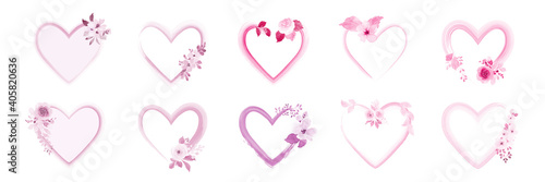 Fototapeta Set of heart frame decorated with pink watercolor flower bouquets obraz
