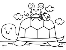Turtle Carry Mouse Across The River Without Color For Color Book
