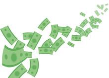 Flying Money Background Vector Illustration Cartoon Flat Design