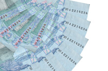 5 Ukrainian Hryvnias Bills Lies Isolated On White Background With Copy Space Stacked In Fan Shape Close Up