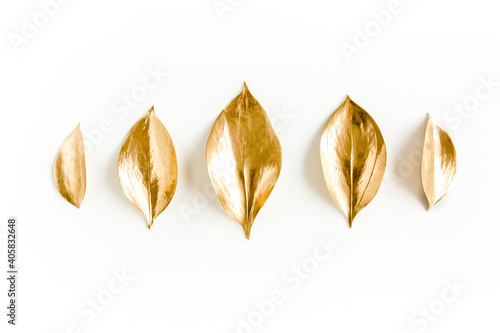 Pattern, texture with gold leaves isolated on white background Fototapeta