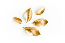 Pattern, Texture With Gold Leaves Isolated On White Background. Flat Lay, Top View
