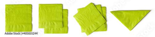Fototapeta Green paper napkins isolated on white from above obraz