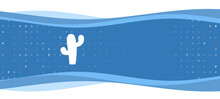 Blue Wavy Banner With A White Cactus Symbol On The Left. On The Background There Are Small White Shapes, Some Are Highlighted In Red. There Is An Empty Space For Text On The Right Side