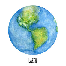 Earth Planet Of The Solar System Watercolor Illustration. Globe Symbol, World Map, Ecology Green Earth Day Concept On White Background. Outer Space Planets, Our Galaxy Astronomy Education Material.