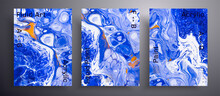 Abstract Liquid Banner, Fluid Art Vector Texture Pack.Artistic Background That Applicable For Design Cover, Poster, Brochure And Etc. Blue, Orange And White Unusual Creative Surface Template