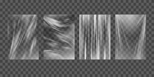 Texture Transparent Stretched Film Polyethylene. Design Element Graphic Crumpled Plastic Wrap.