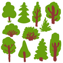 Collection With Green Deciduous Tree, Fir Tree And Bushes. Various Shapes. Shrub Sculpture. Brown Trunk And Branches. Graphic Elements. Cartoon Style. Nature And Ecology. Park, Forest Or Garden