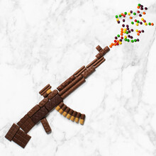 Submachine Gun From Chocolate Candy