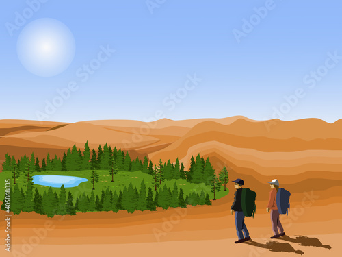 Obraz na plátně Two tourists looking at the desert oasis with blue sky background