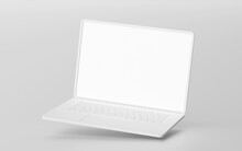 Minimalistic Floating Laptop Blank Screen Mockup, 3d Rendering
