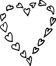 Hearts. Graphic Hand-drawn Illustration, Vector. Doodle, Sketch, Line, Graphics. Print, Textiles. Romance, Valentine's Day