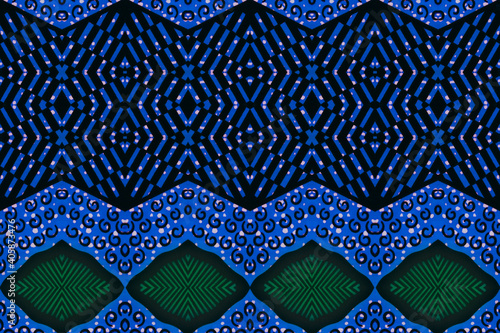 Canvas Print Colored African fabric (Ghana) – Seamless pattern, real cotton wax, photo