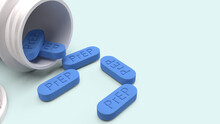 Close-up Of Prep Text On Blue Pills Over White Background