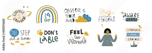 Cuadros en Lienzo Set of mindful quotes. Vector cartoon lettering.
