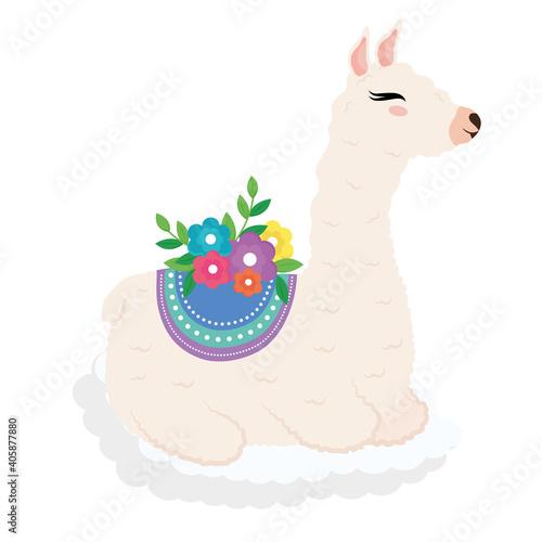 Fototapeta premium cute alpaca exotic animal with chair and floral decoration vector illustration design