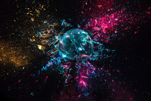 Explosion Of A Glass Ball With Colored Lights, Black Background.