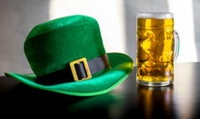 St Patricks Day Costume Hat Leprechaun Glass Beer Black Background