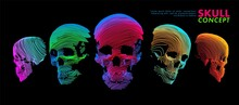 Art Concept Of A Skull. Vector Drawn By Color Lines. Minimal Cover Design. Creative Line-art. Vector Template