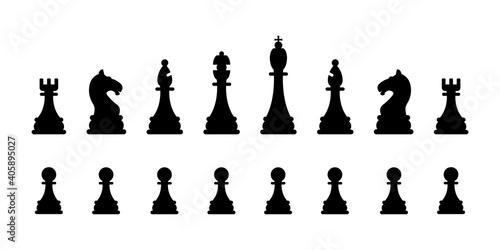 Foto Chessmen collection isolated on a white