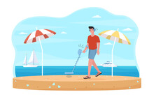 Male Beach Treasure Hunter With Metal Detector Is Looking For Gems On Seashore. Smiling Man In Shorts Is Walking By The Sea With Special Equipment. Flat Cartoon Vector Illustration