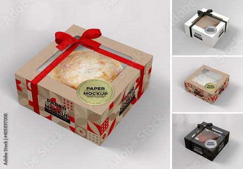 Obraz Flip Top Cake Box Packaging Mockup - fototapety do salonu