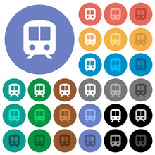 Train Round Flat Multi Colored Icons