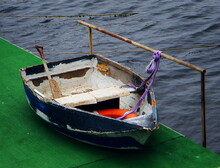 High Angle View Of Boat Moored In Sea