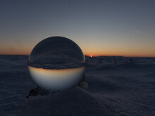 A Crystal Ball Bottom View While Sunset On Snow In Thuringia
