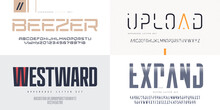 Collection Of Vector Sans Serif Fonts, Uppercase Letter Sets, Alphabets