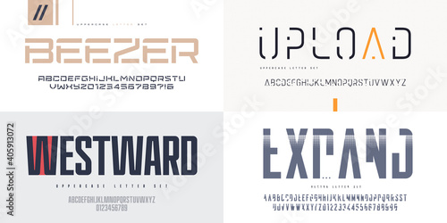 Collection of vector sans serif fonts, uppercase letter sets, alphabets
