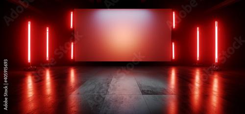 Obraz Neon Red Orange Stage Showroom Scene Concrete Floor Big White Billboard Plane Empty Vibrant Spaceship Sci Fi Futuristic Showcase Club Show Dark Cyber Virtual 3D Rendering - fototapety do salonu