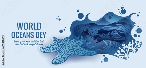 Text - world ocean day. Starfish template for making a postcard. Vector image for laser cutting and plotter printing. fauna with marine animals. © zhanstudio