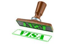 Visa Stamp. Wooden Stamper, Seal With Text Visa, 3D Rendering