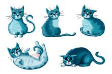 Ilustración Gato Adorable De Color Azul. Dibujo De Gato En Varias Poses Y Expresiones.