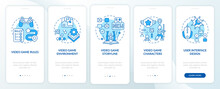 Video Game Design Components Onboarding Mobile App Page Screen With Concepts. Special Game Rules Walkthrough 5 Steps Graphic Instructions. UI Vector Template With RGB Color Illustrations