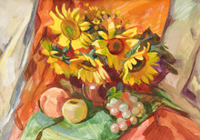 Still Life In Ukrainian Style With Fruits And Sunflowers. Gouache Painting