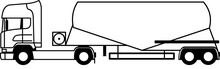 Tractor Unit With V Type Silo Cement Trailer - Silo Trailer - Tractor Unit - Truck - European - Dry Bulk Cement Tank Trailer - Transportation Of Cement - Vector - Monochrome - Icon