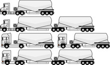Tractor Unit With V Type Silo Cement Trailer - Silo Trailer - Tractor Unit - Truck - American - Dry Bulk Cement Tank Trailer - Transportation Of Cement - Vector - Set - Package