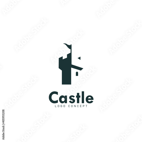 Leinwand Poster Castle Logo Design Template Flat Style Vector