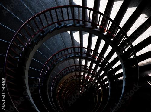 Fototapeta spiral staircase in the night