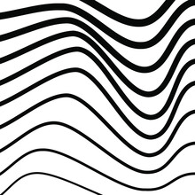 Black Irregular Wavy Billowy Lines. Curved Lines Pattern. Abstract Monochrome Background. Modern Shape. Design Element For Prints, Web Pages, Template And Textile Pattern