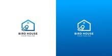 Bird House Logo Design Vector
