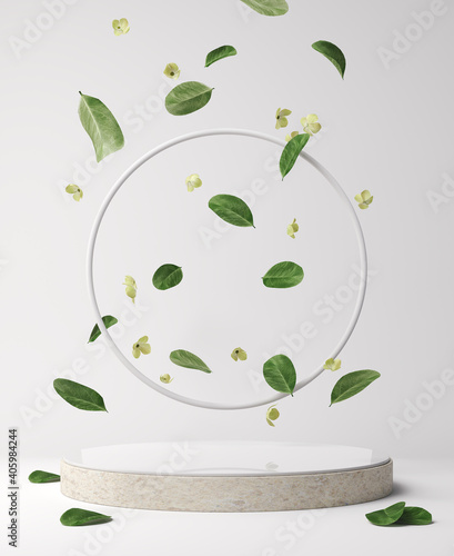 Abstract minimal scene with geometric Podium display background for product presentation, mock up, cosmetic product stand