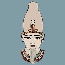 Portrait Of Ancient Egyptian Pharaoh. Head Of God Osiris. Hand Drawn Colorful Sketch.