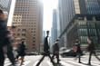 Leinwandbild Motiv Blurred Motion Of People Walking On Street In City